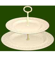 2 Tier Pierced Plate Cake Stand