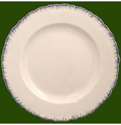 Creamware Shell Edge Dinner Plate with Blue Edge