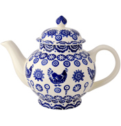 Blue Hen & Border 4 Cup Teapot