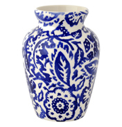 Blue Wallpaper Mustard Vase