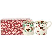 Christmas Joy Robin Set of Two 1/2 Pint Mugs