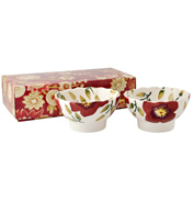Christmas Rose Set of 2 Fluted Bowls (BOXED)