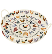 Hens Large Handle Round Tray