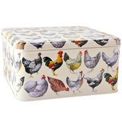 Hens Large Square Tin