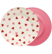 Pink Hearts 2 Tone Melamine Plate