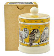 Owls at Night Small Gold Lidded Candle
