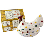 Polka Dot Hen on Nest In A Box