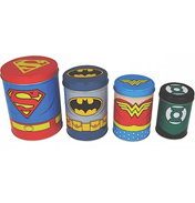 Justice League Set of 4 Tin Canisters (BOXED)