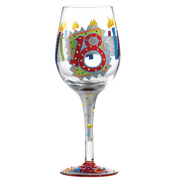 "Love My Wine ""18th Birthday"" Hand Painted Wine Glass"