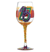 Love My Wine 40th Birthday Hand Painted Wine Glass