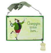 "McCaw Allen Tottering Wooden Sign ""Champagne…"
