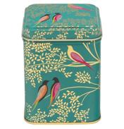 Green Birds Square Storage Tin