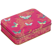 Pink Butterfly Small Rectangular Storage Tin